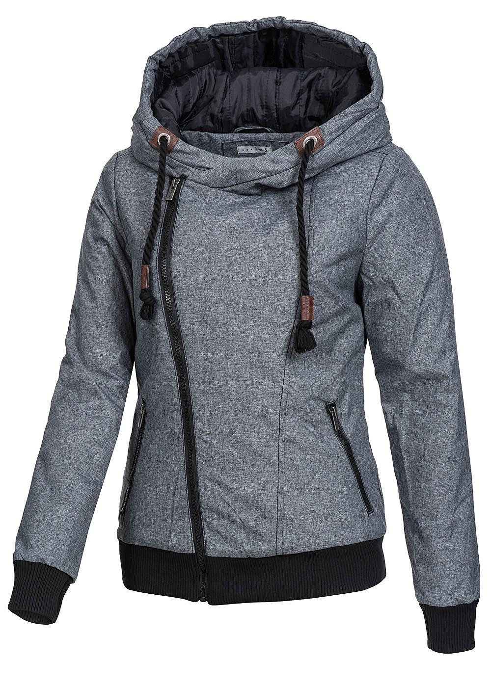 Eight2Nine Damen Winter Jacke Kapuze asym Zipper 2 Taschen by ...