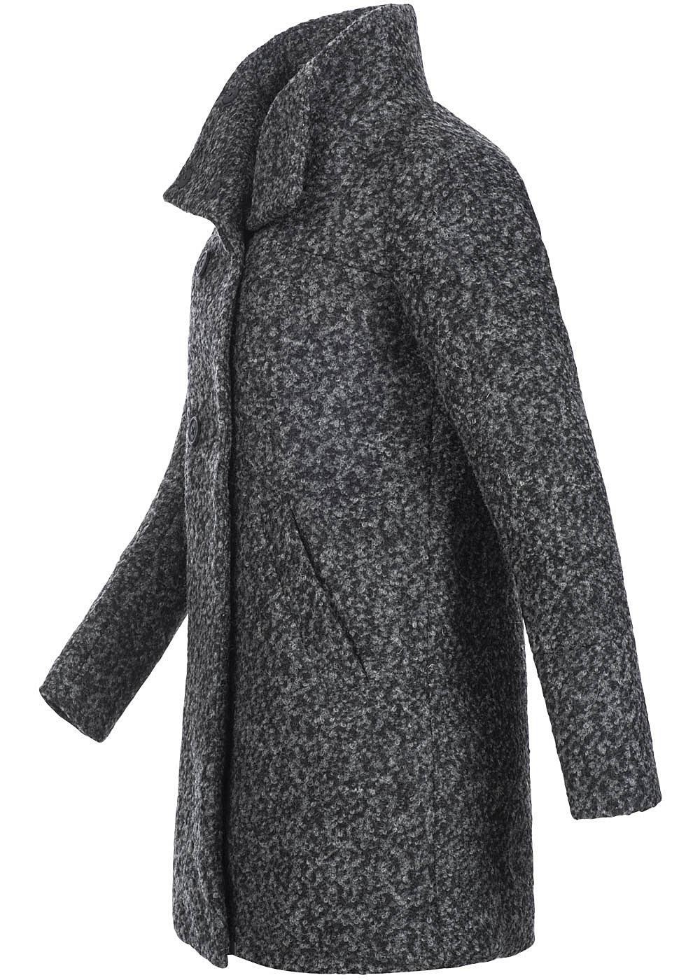 Kunden zuerst retro suche nach neuesten ONLY Damen Wollmantel SOPHIA 15100268 2 Knopfreihen 2 deko Taschen dunkel  grau