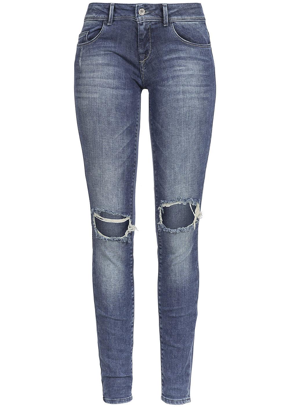 only damen skinny jeans coral 15110325 destroy look 5 pocket med blue denim 77onlineshop. Black Bedroom Furniture Sets. Home Design Ideas