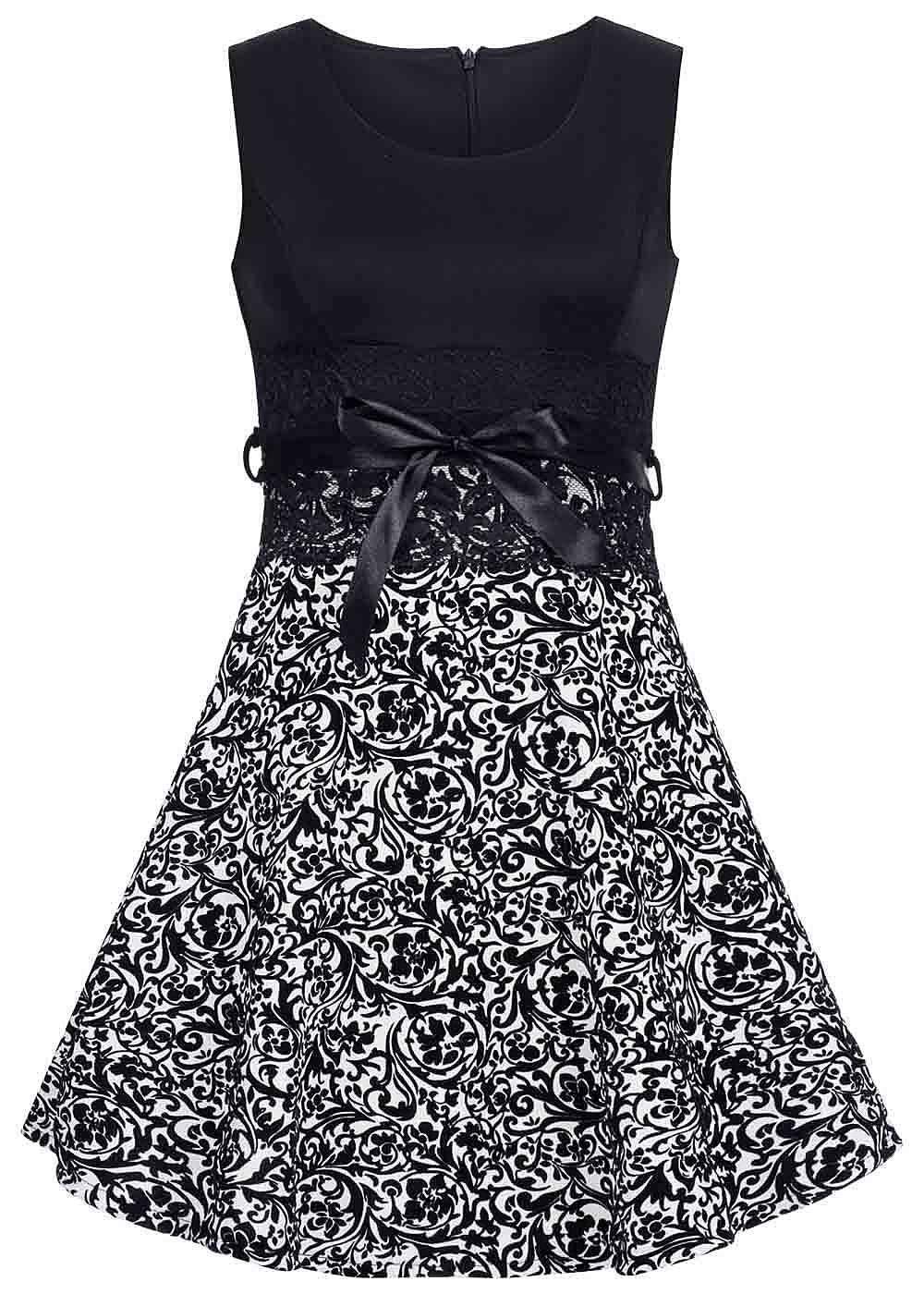 06bc5f92377 styleboom fashion damen mini kleid florales muster spitze bindeband schwarz weiss  77onlineshop