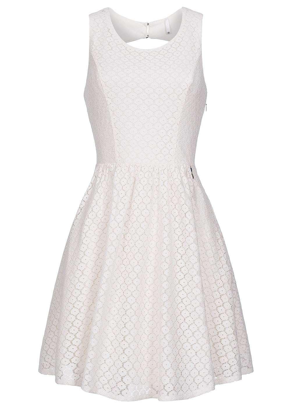 ONLY Damen Mini Kleid 2-lagig Rückenausschnitt Loch Optik Allover ...