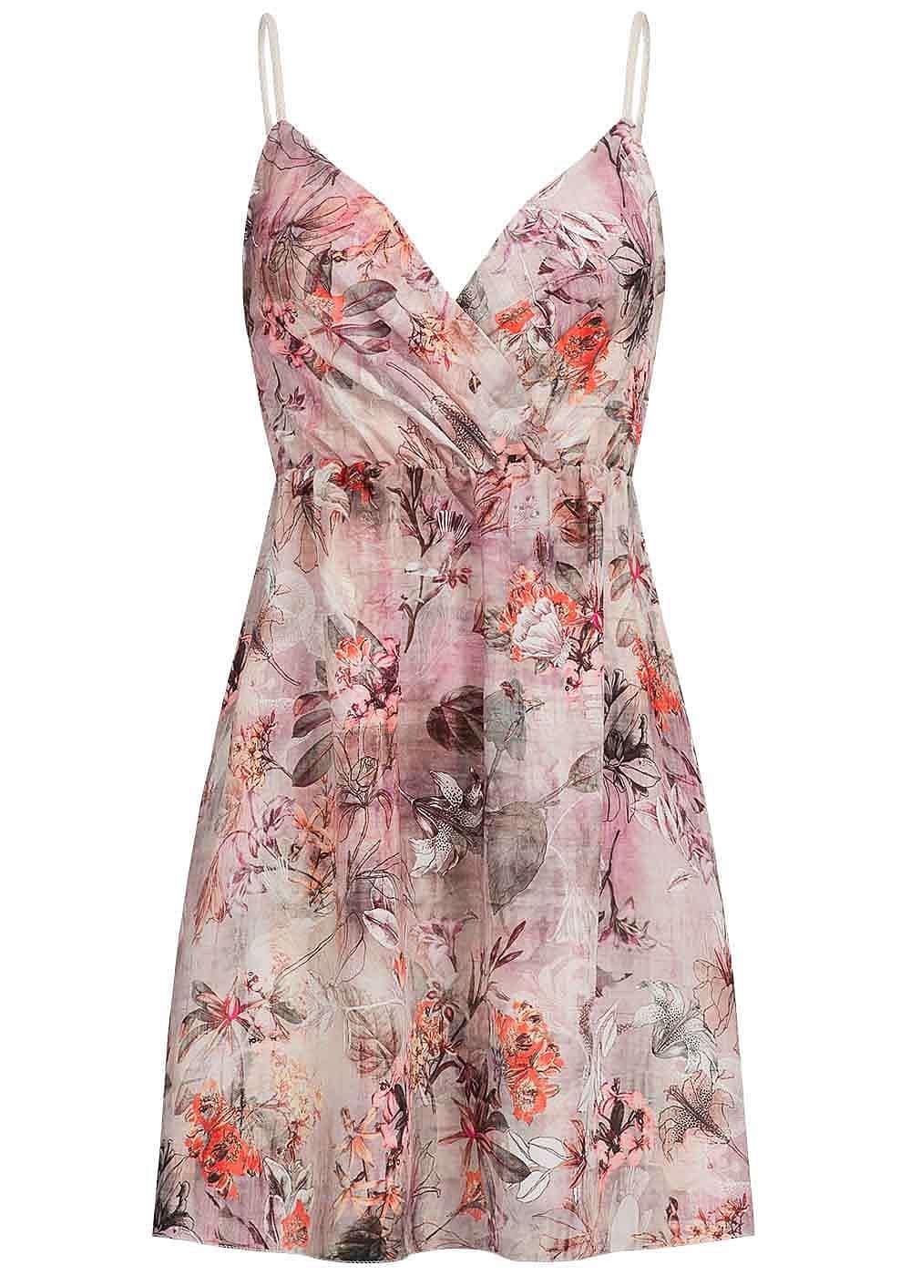 styleboom fashion damen mini kleid kordeltr ger gummizug blumen muster rosa 77onlineshop. Black Bedroom Furniture Sets. Home Design Ideas