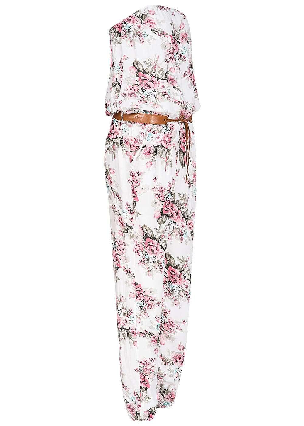styleboom fashion damen bandeau jumpsuit 2 taschen blumen. Black Bedroom Furniture Sets. Home Design Ideas