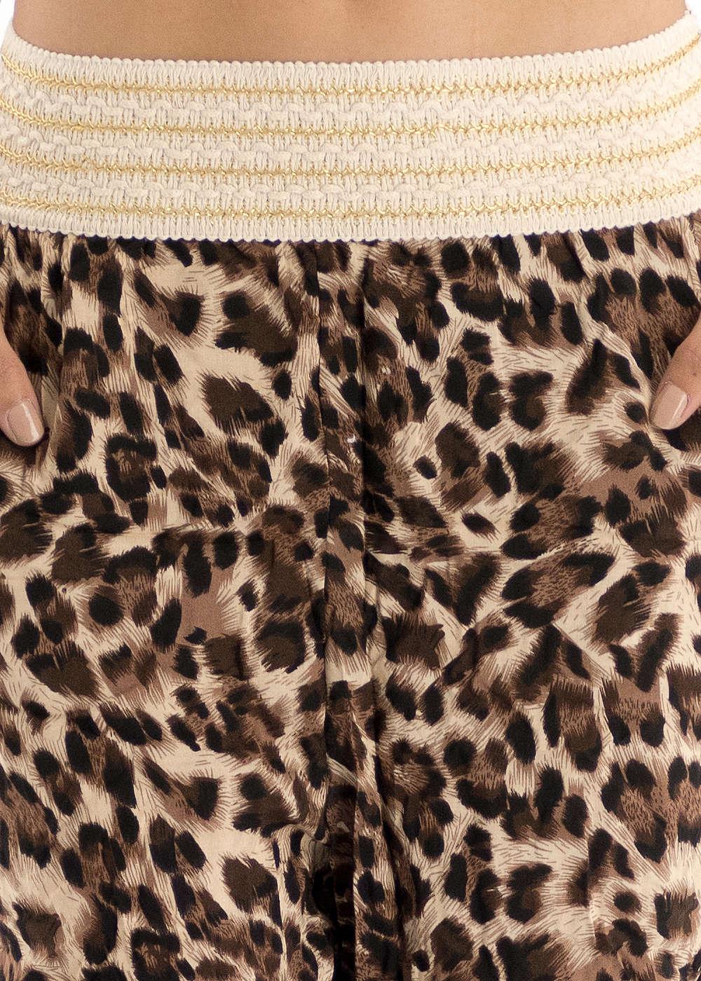 styleboom fashion damen sommer hose leo muster 2 taschen breiter bund beige braun - Leo Muster
