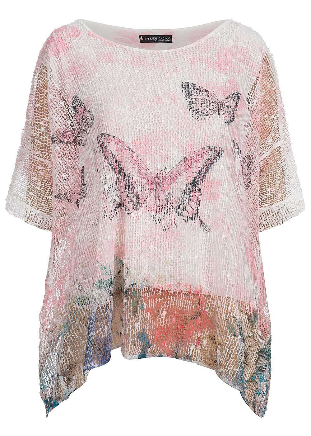 styleboom fashion damen shirt oversize 2 lagig netz optik pailletten rosa weiss 77onlineshop. Black Bedroom Furniture Sets. Home Design Ideas
