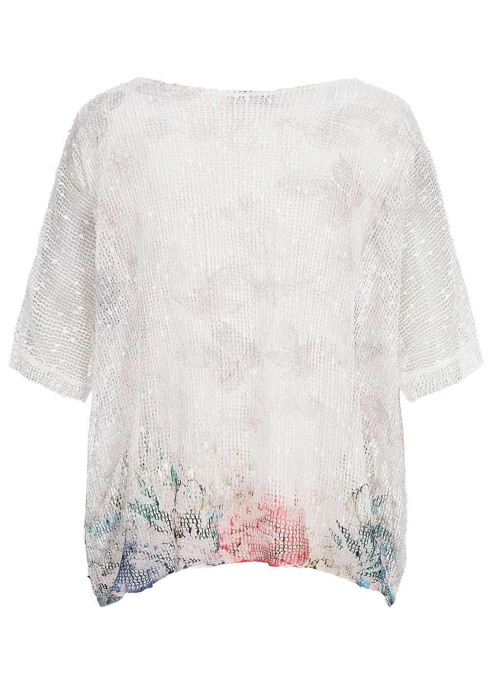 styleboom fashion damen shirt oversize 2 lagig netz optik pailletten grau weiss 77onlineshop. Black Bedroom Furniture Sets. Home Design Ideas