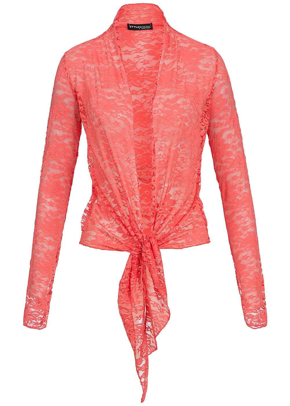 styleboom fashion damen sommer cardigan zum knoten spitze coral 77onlineshop. Black Bedroom Furniture Sets. Home Design Ideas