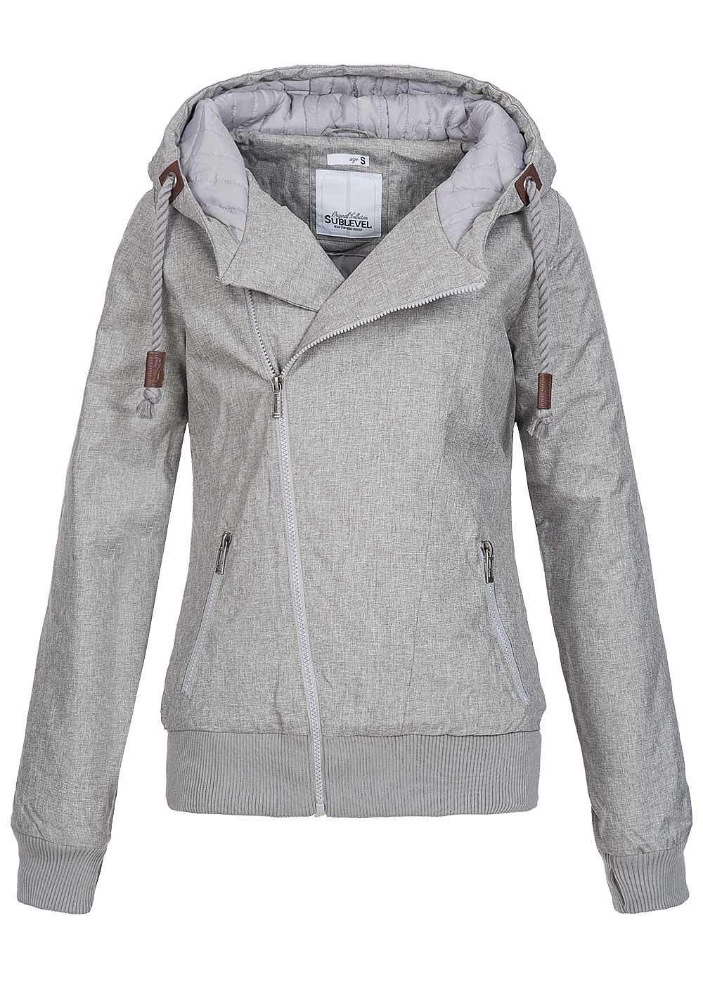 Eight2Nine Damen Winter Jacke Kapuze asym Zipper 2 Taschen ...
