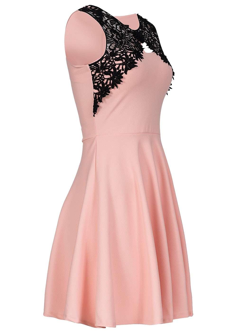 Styleboom Fashion Damen Mini Kleid Häkeleinsatz Brustpads Zipper ...