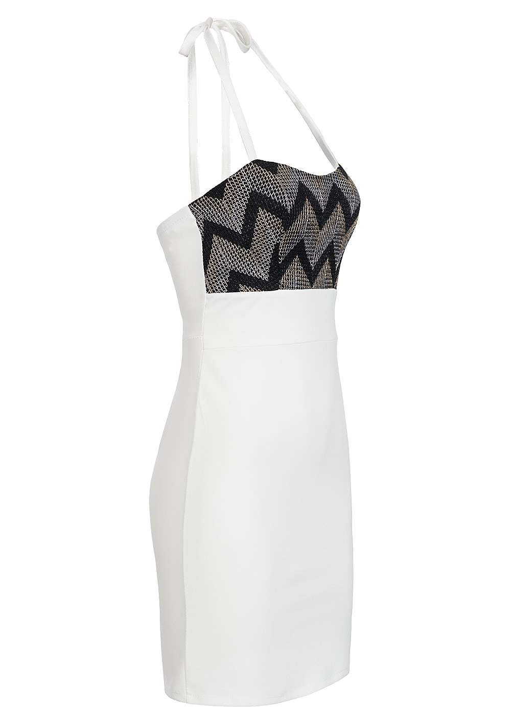 styleboom fashion damen mini neckholder kleid brustpads zipper glitter optik weiss 77onlineshop. Black Bedroom Furniture Sets. Home Design Ideas