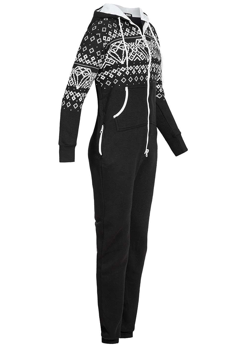 seventyseven lifestyle damen jumpsuit kapuze kontrastzipper 4 taschen schwarz diamond 77onlineshop. Black Bedroom Furniture Sets. Home Design Ideas