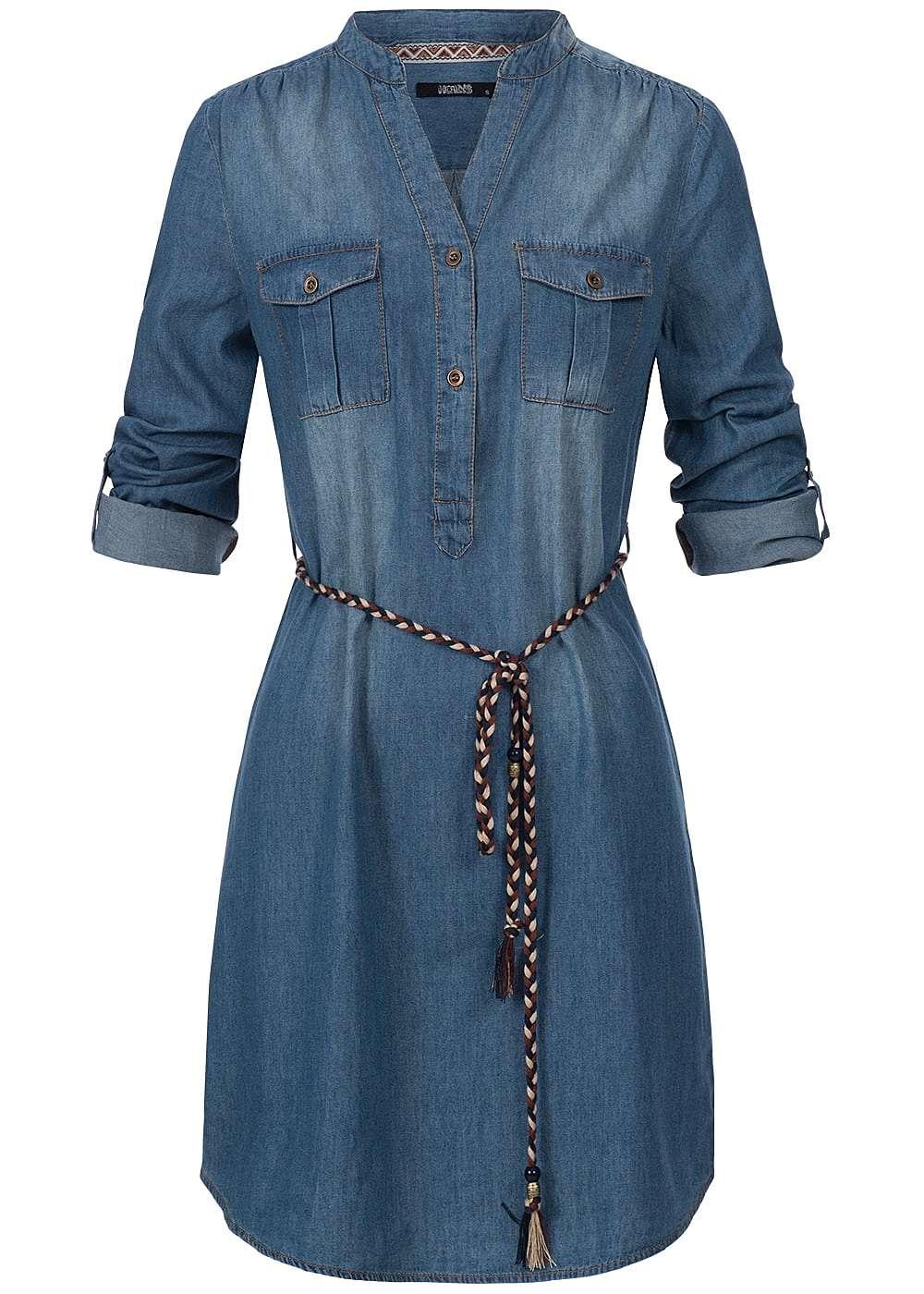 hailys damen jeans kleid turn up rmel 2 brusttaschen 2. Black Bedroom Furniture Sets. Home Design Ideas