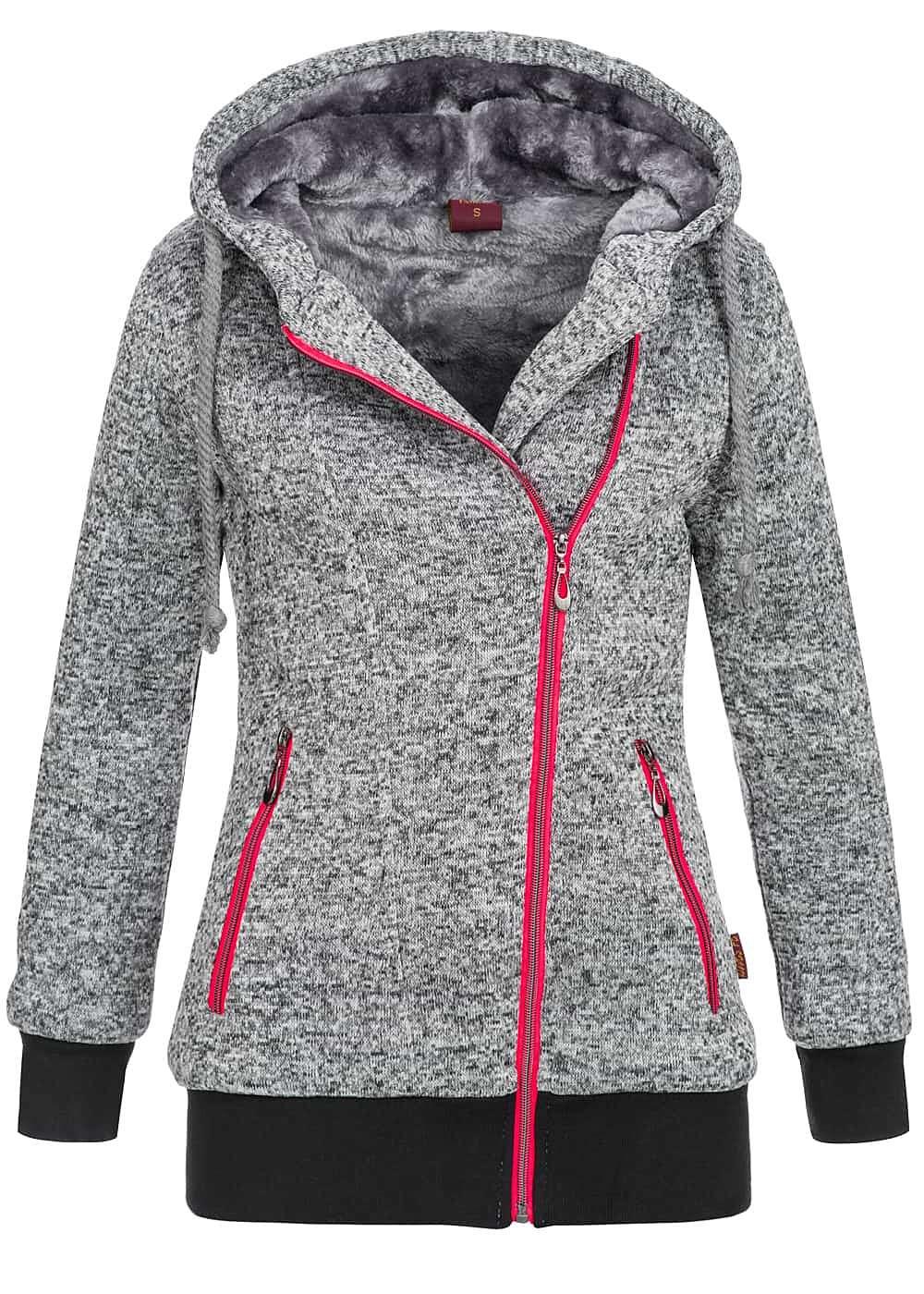 seventyseven lifestyle damen winter zip hoodie mit kapuze. Black Bedroom Furniture Sets. Home Design Ideas