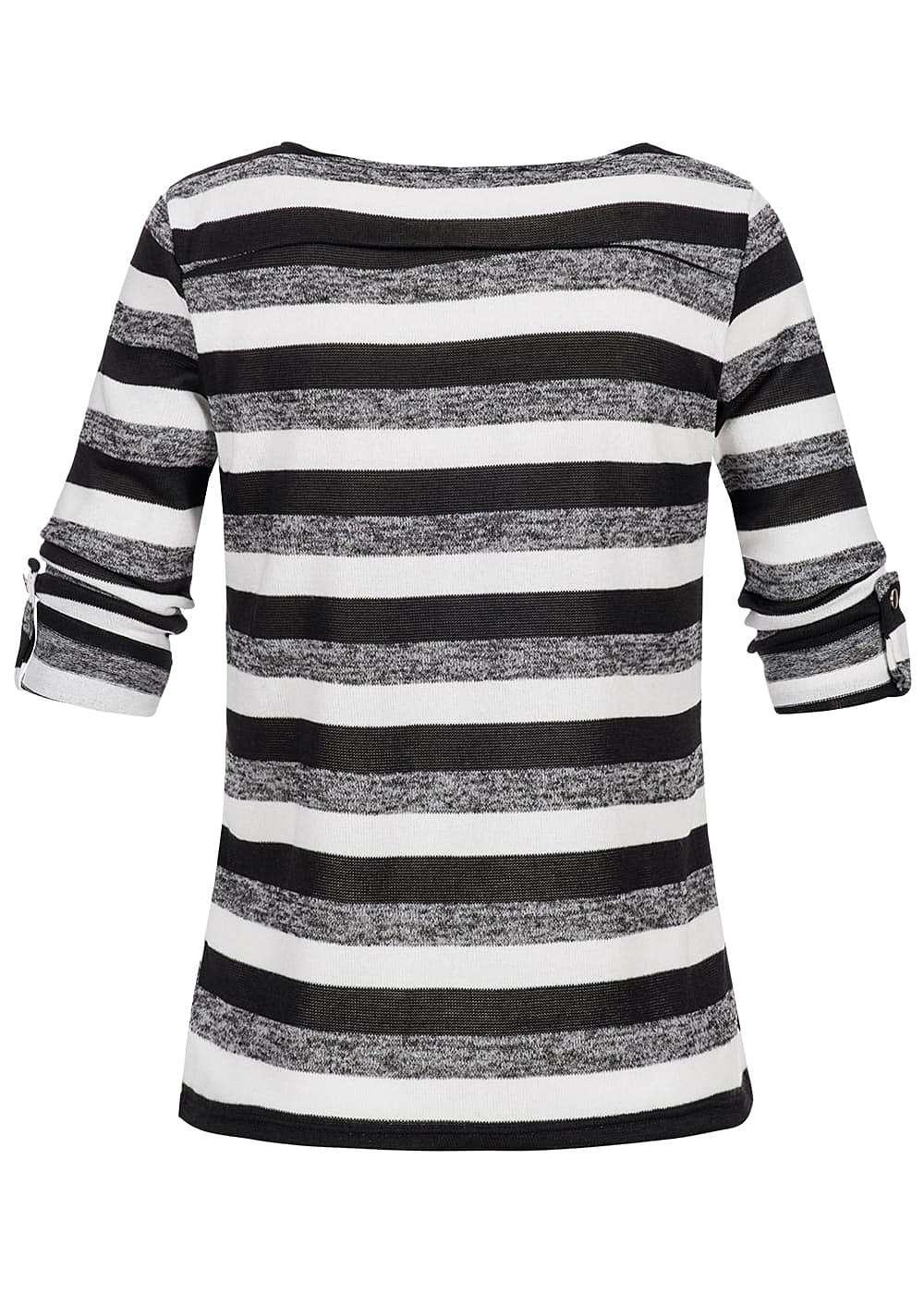 hailys damen 3 4 shirt deko turn up rmel gestreift schwarz weiss. Black Bedroom Furniture Sets. Home Design Ideas