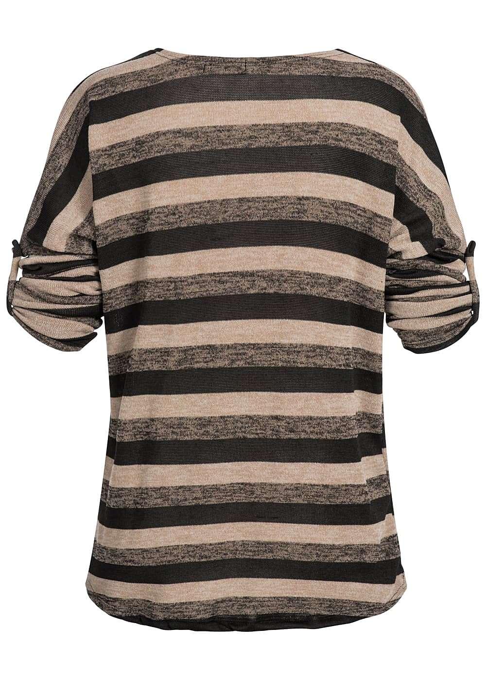 styleboom fashion damen turn up shirt gestreift hinten l nger beige. Black Bedroom Furniture Sets. Home Design Ideas
