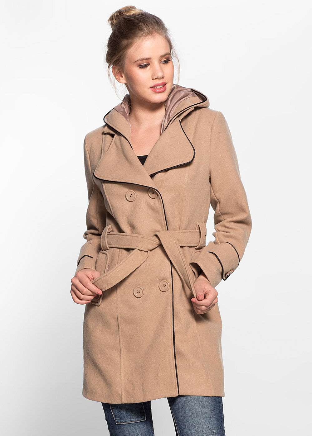 styleboom fashion damen fleece mantel abnehmbare kapuze doppelknopfreihe camel beige 77onlineshop. Black Bedroom Furniture Sets. Home Design Ideas