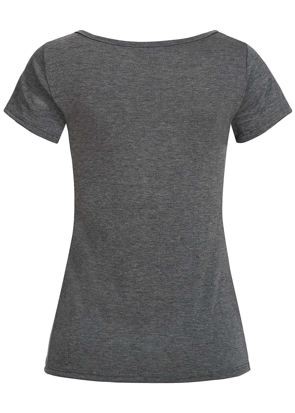 styleboom fashion damen t shirt mit patches dunkel grau. Black Bedroom Furniture Sets. Home Design Ideas