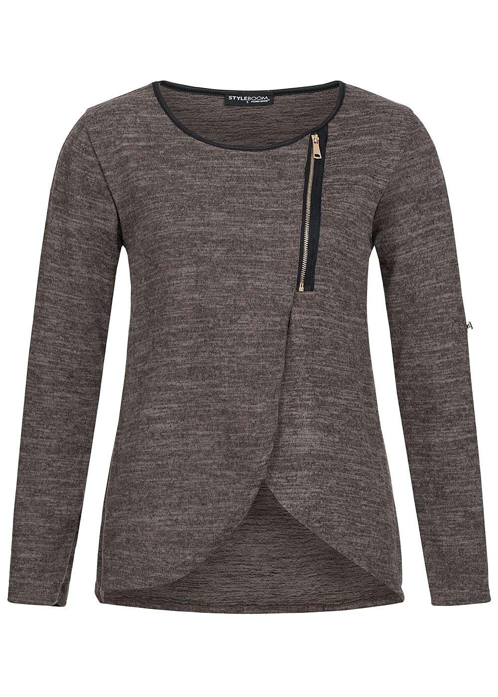 styleboom fashion damen turn up shirt asym zipper hinten l nger fango braun 77onlineshop. Black Bedroom Furniture Sets. Home Design Ideas