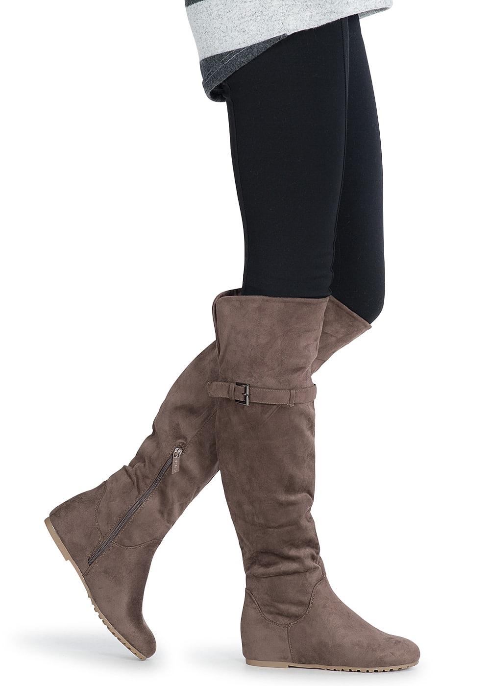 0cc62cdf88a82d Seventyseven Lifestyle Schuh Overknee Stiefel mit deko Schnalle ...