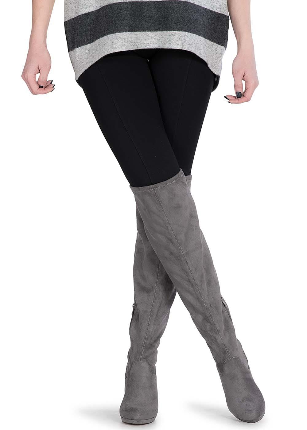 seventyseven lifestyle schuh overknee stiefel schmaler absatz 9cm zipper grau 77onlineshop. Black Bedroom Furniture Sets. Home Design Ideas