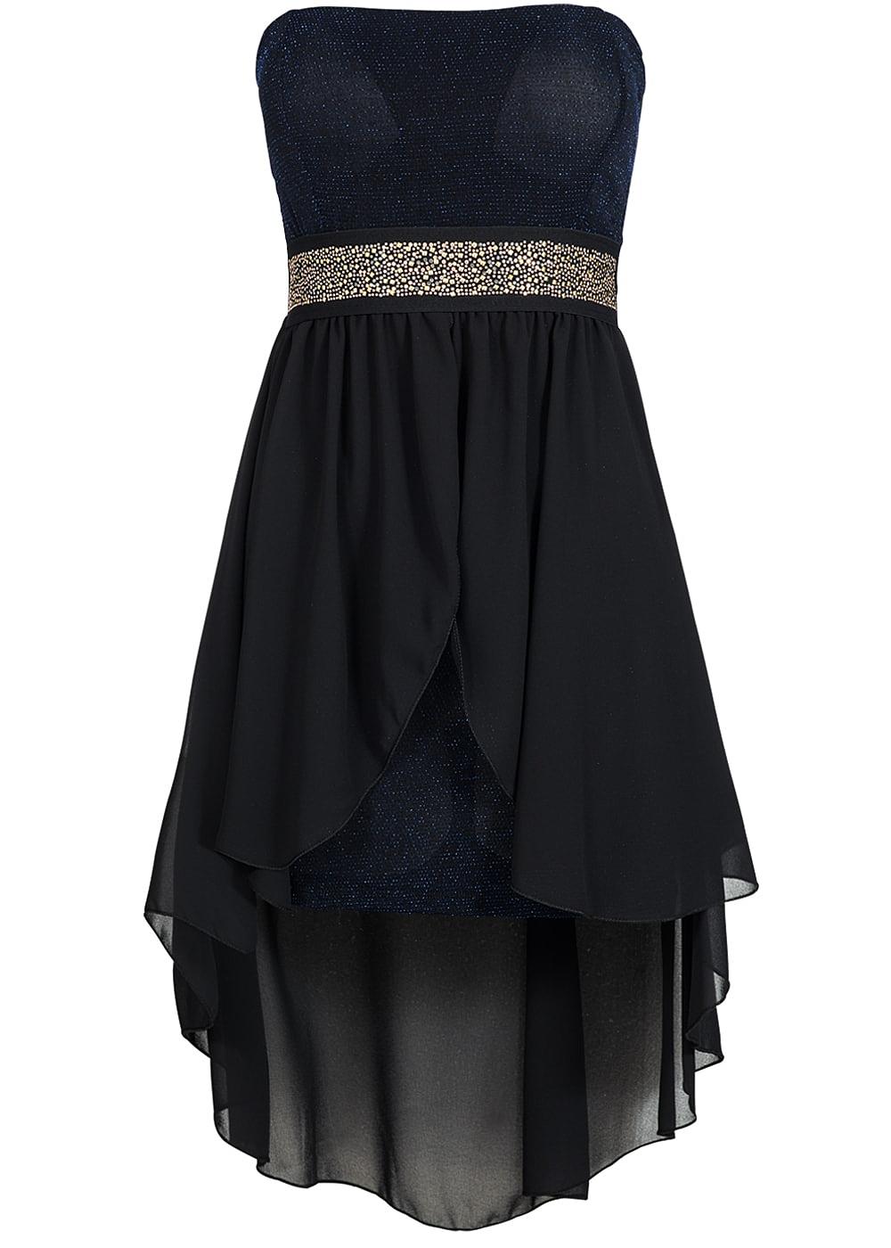 styleboom fashion damen party bandeau kleid vokuhila glitzer brustpads schwarz royal blau. Black Bedroom Furniture Sets. Home Design Ideas