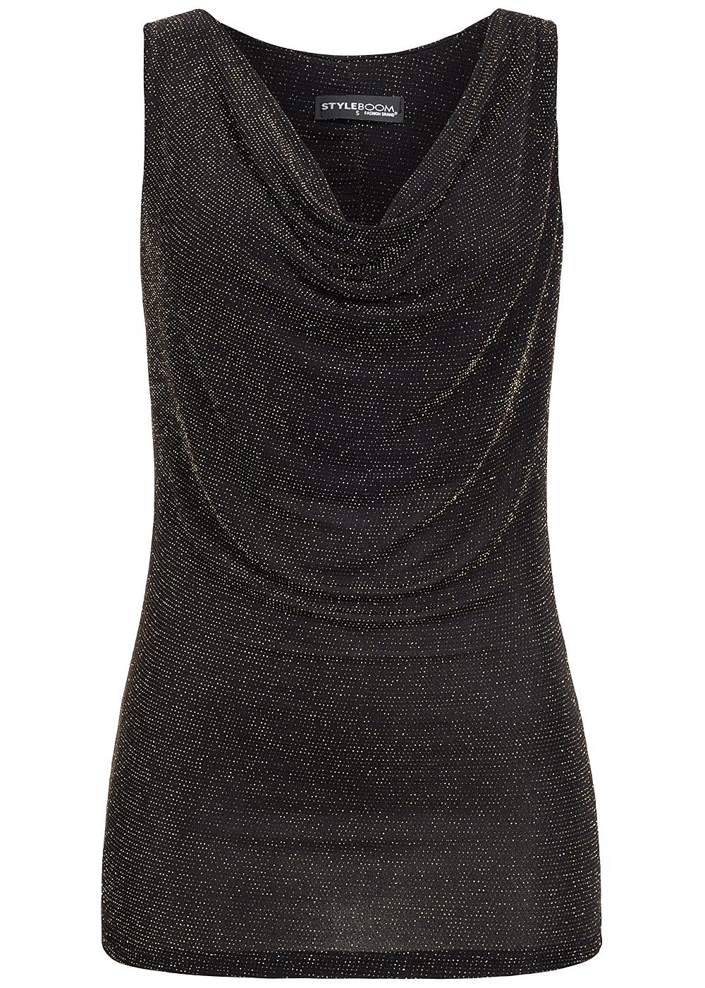 styleboom fashion damen tank top wasserfall ausschnitt. Black Bedroom Furniture Sets. Home Design Ideas