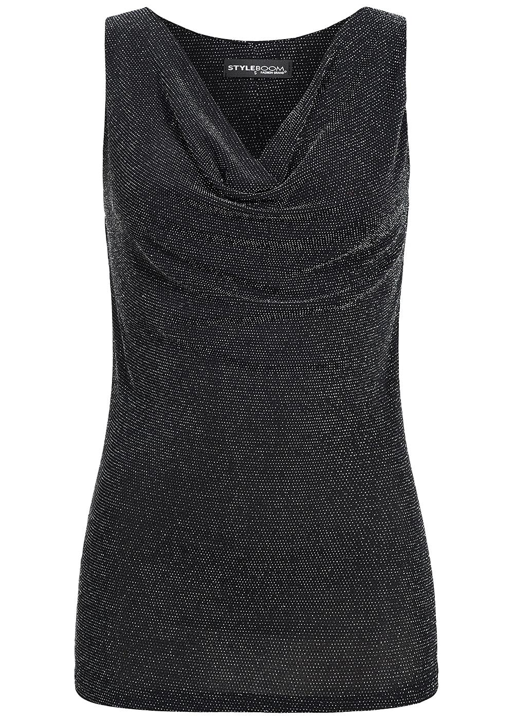 6be040f67853 Styleboom Fashion Damen Tank Top Wasserfall Ausschnitt Glitzer Optik schwarz  silber