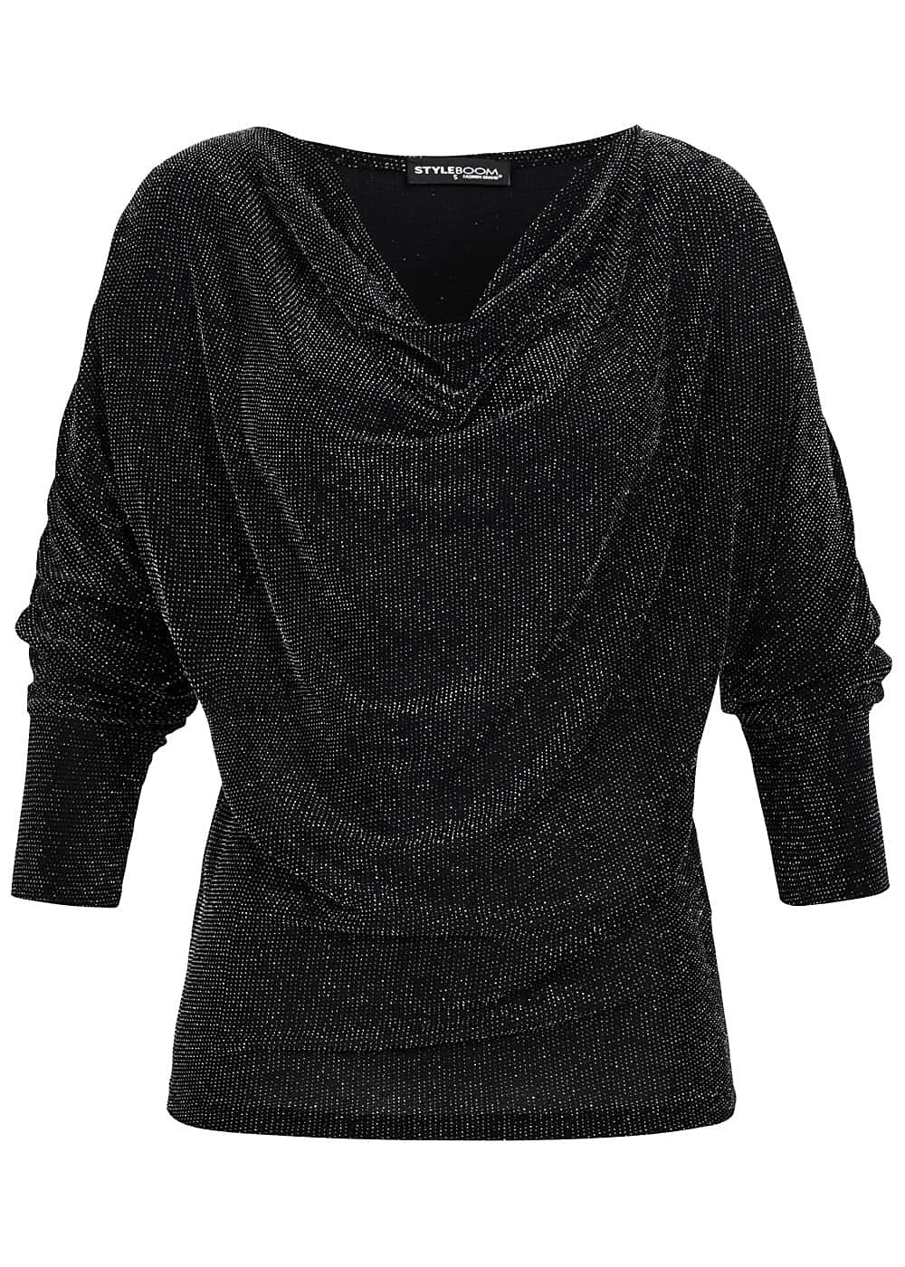 2a8dd4eeb41a Styleboom Fashion Damen Shirt Wasserfall Ausschnitt Glitzer schwarz silber.  Rate now. Item number  16129047