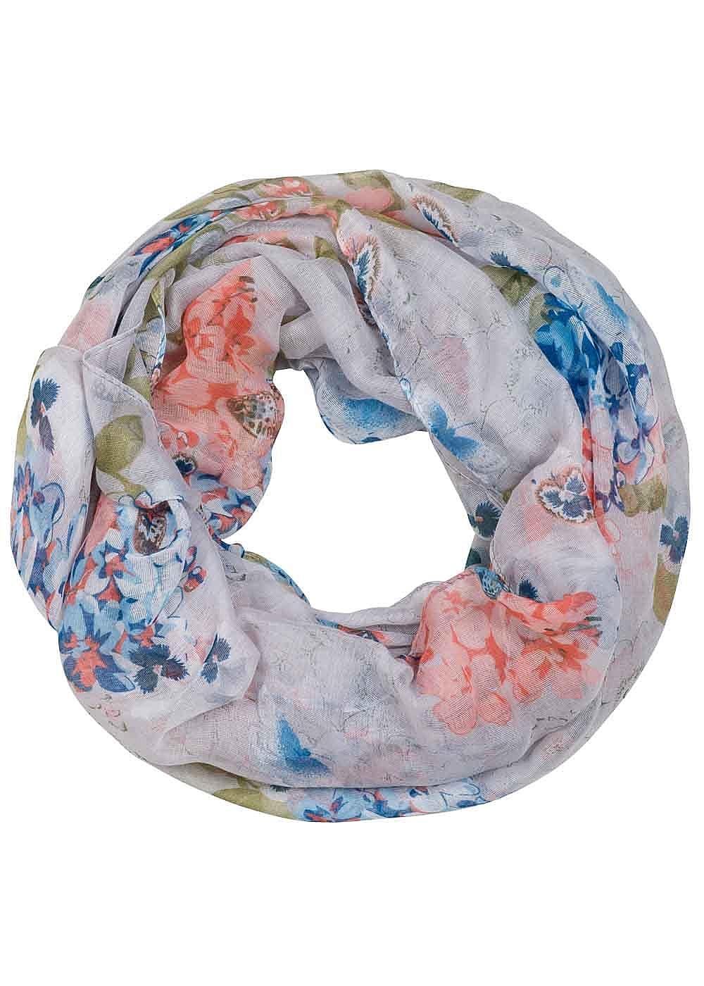 seventyseven lifestyle schal damen loop schal blumen schmetterlinge grau blau rosa 77onlineshop. Black Bedroom Furniture Sets. Home Design Ideas