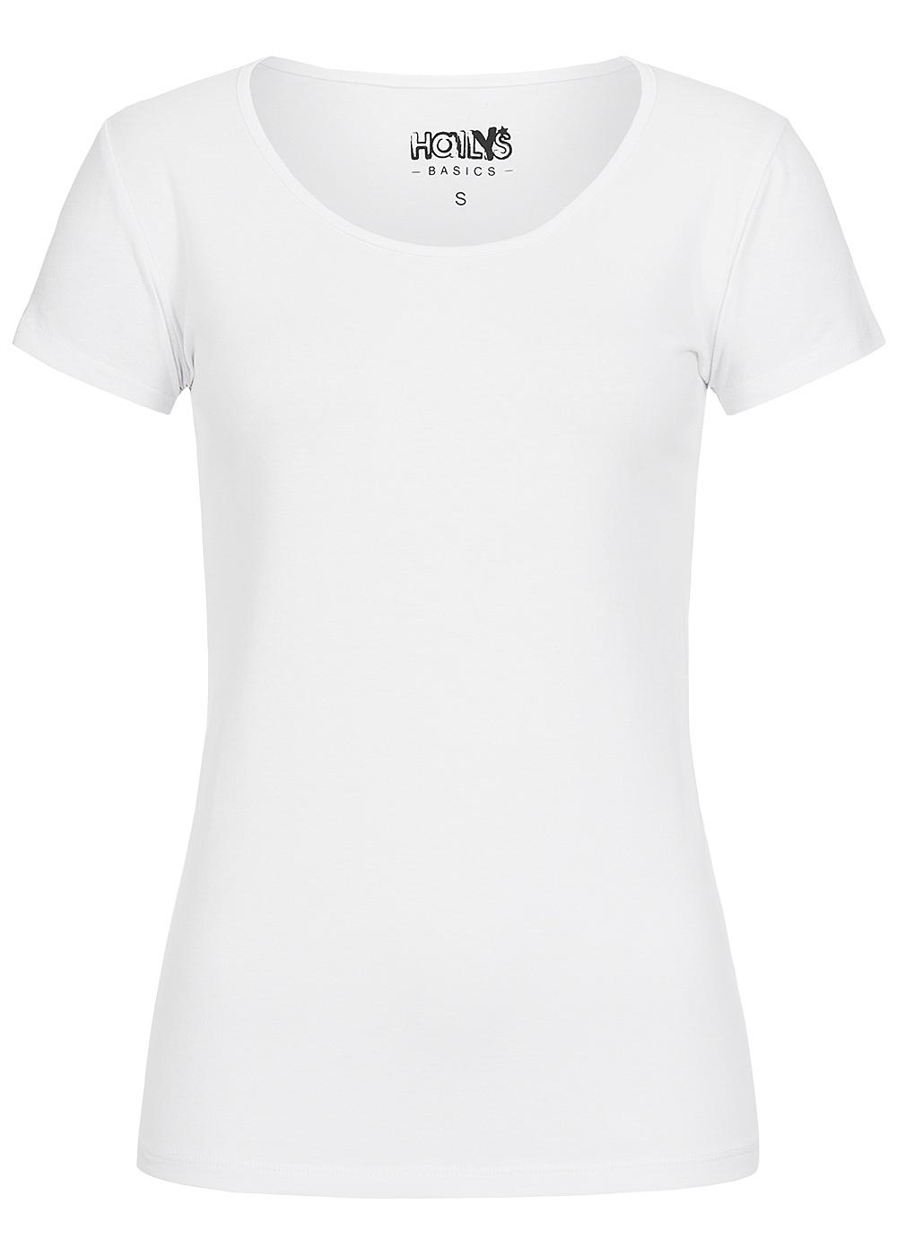 hailys damen basic t shirt kurzarm weiss 77onlineshop. Black Bedroom Furniture Sets. Home Design Ideas