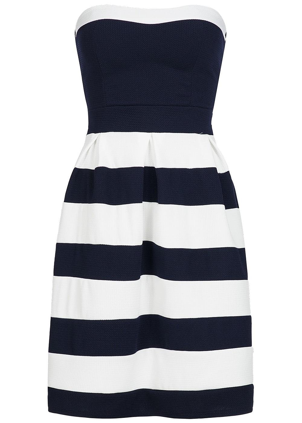 Styleboom Fashion Damen Mini Bandeau Kleid gestreift Brustpads navy blau  weiss 62b65bfc8a