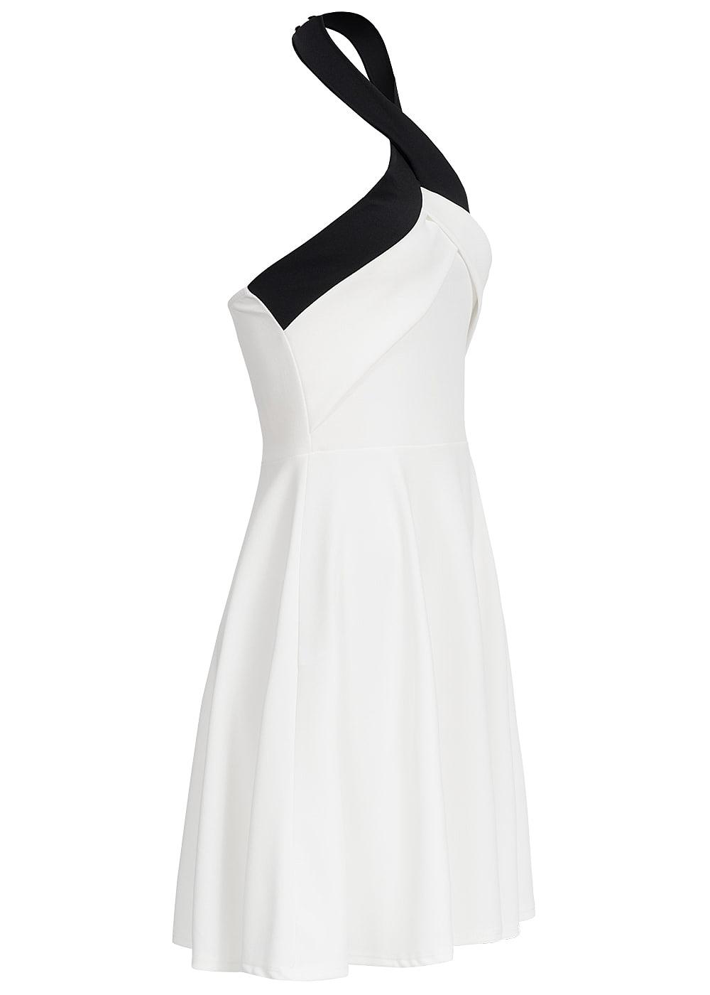 Styleboom Fashion Damen Mini Neckholder Kleid Gummizug hinten weiss ...