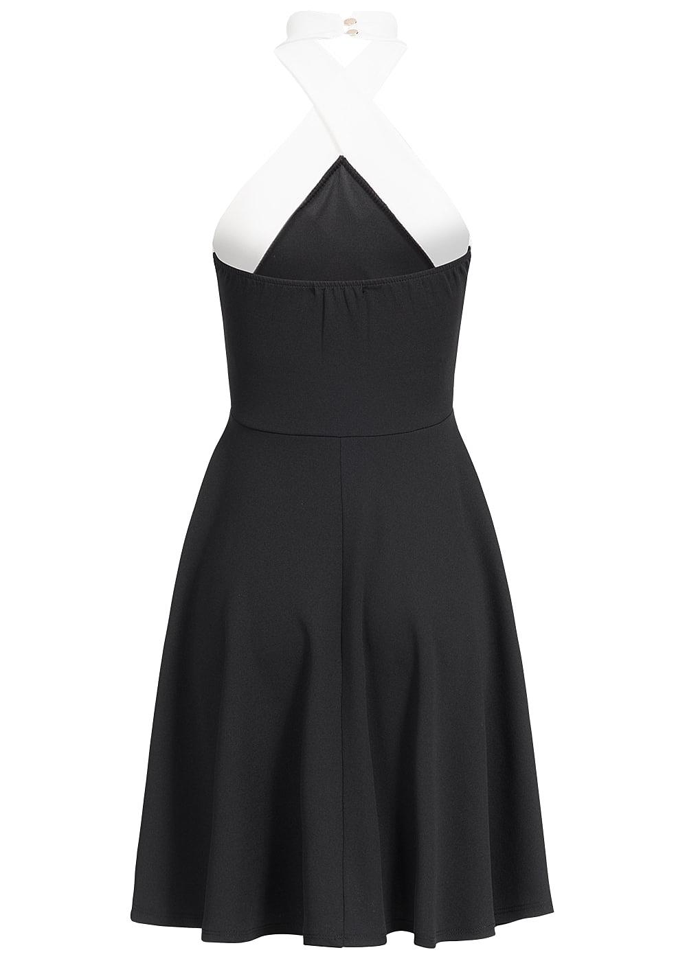 styleboom fashion damen mini neckholder kleid gummizug hinten schwarz weiss 77onlineshop. Black Bedroom Furniture Sets. Home Design Ideas