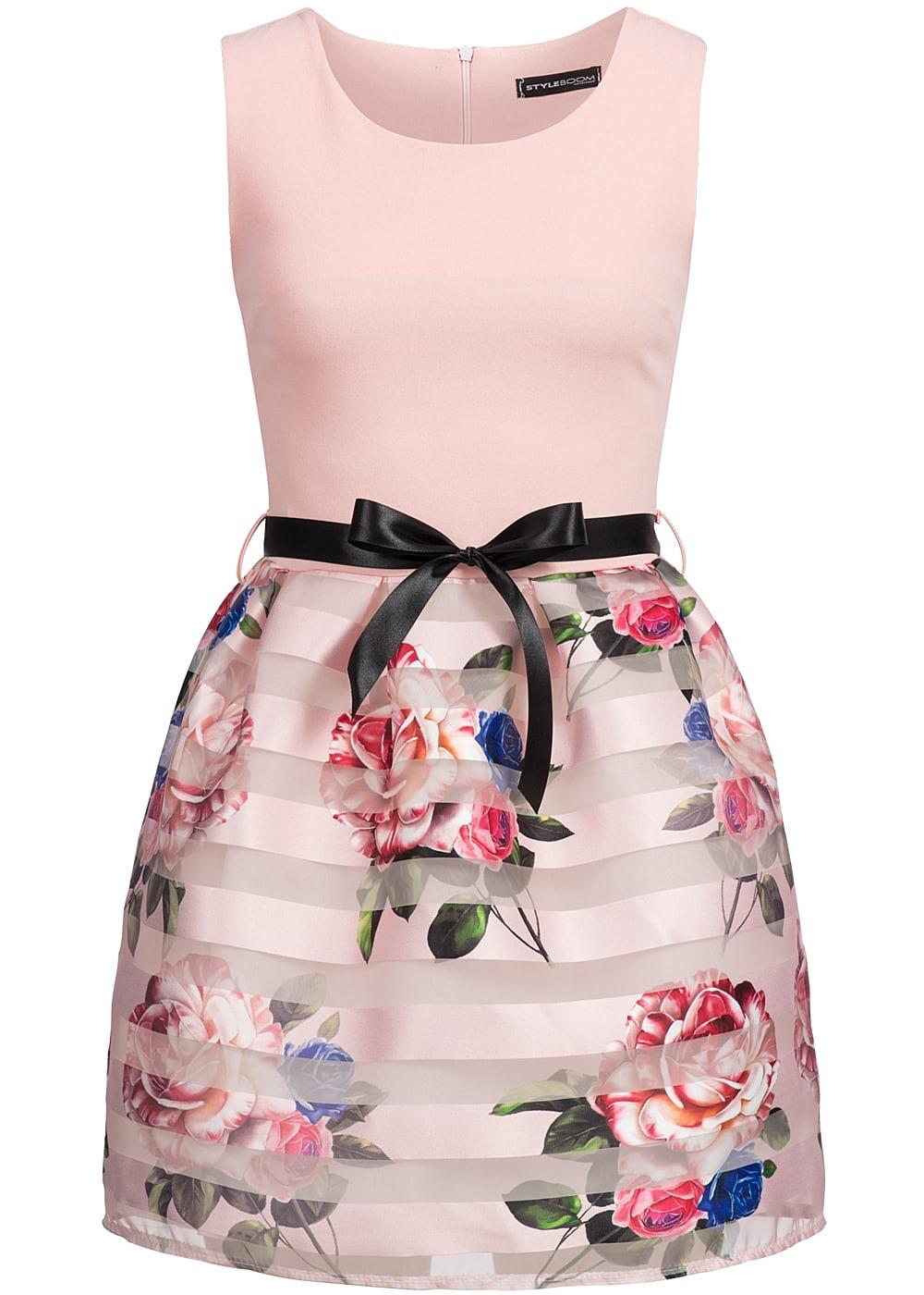 styleboom fashion damen mini kleid blumen streifen muster bindeband rosa 77onlineshop. Black Bedroom Furniture Sets. Home Design Ideas