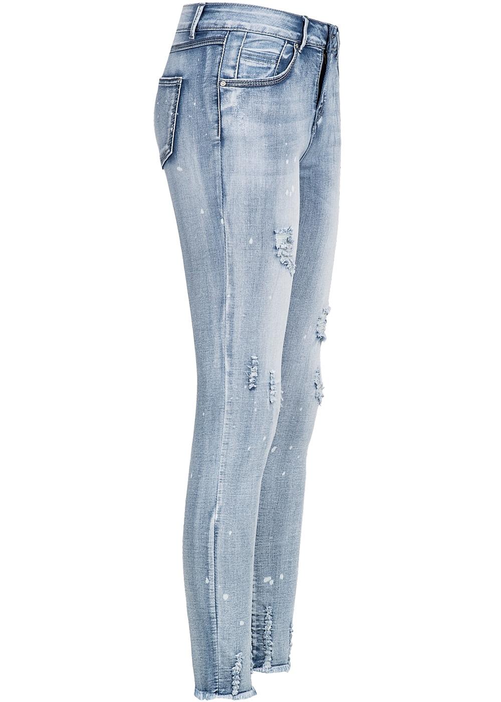 seventyseven lifestyle hose damen jeans flecken muster detroy look hell blau denim - Jeans Mit Muster
