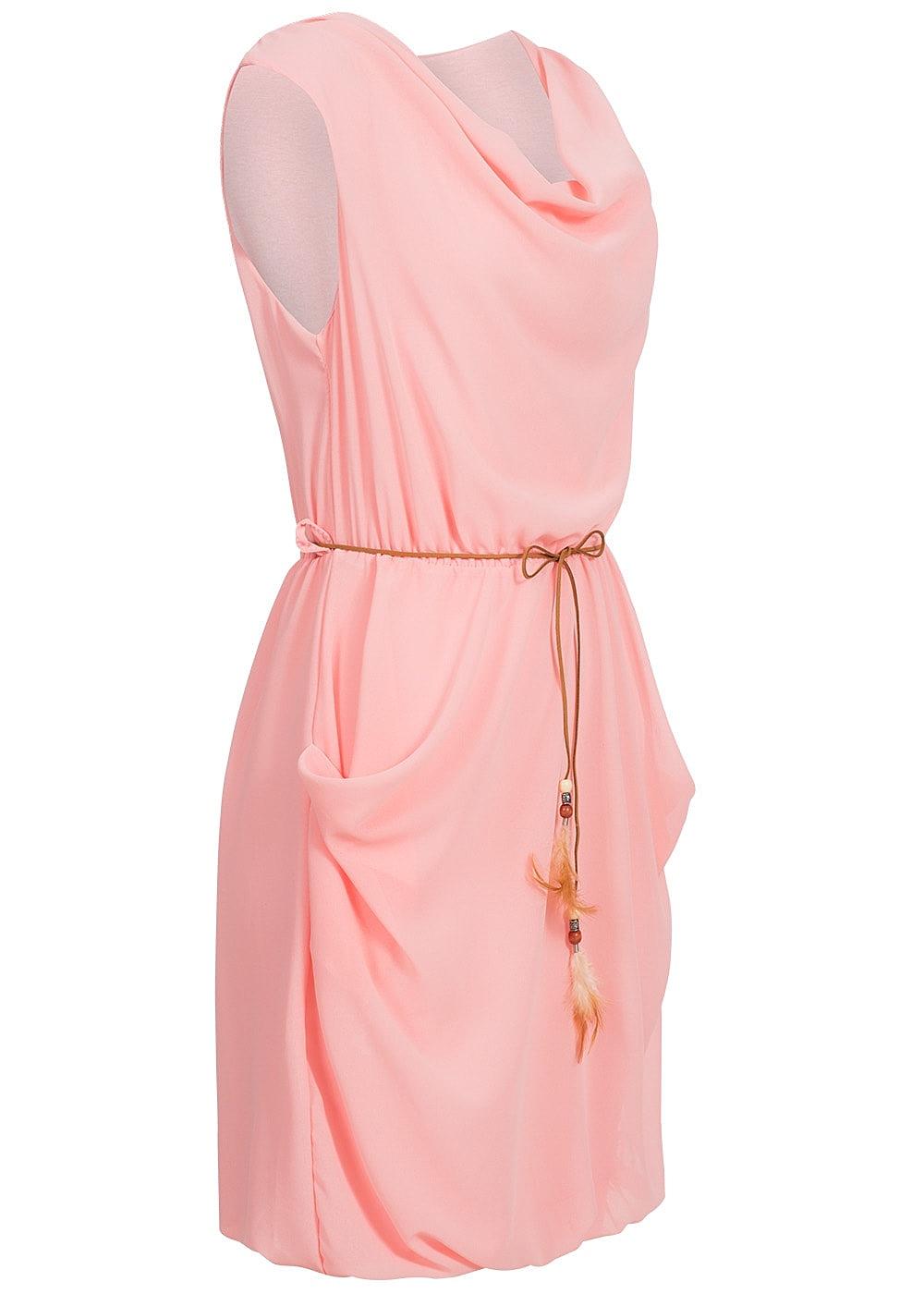 styleboom fashion chiffon mini kleid bindeg rtel wasserfall ausschnitt 2 taschen rosa 77onlineshop. Black Bedroom Furniture Sets. Home Design Ideas