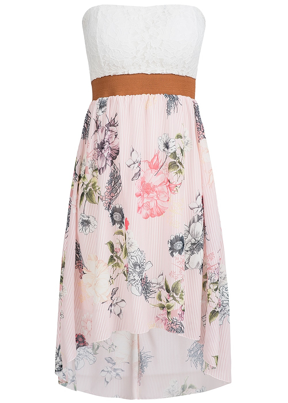 3d3189c85ce styleboom fashion damen mini bandeau kleid blumen muster spitze brustpads rosa  weiss br 77onlineshop