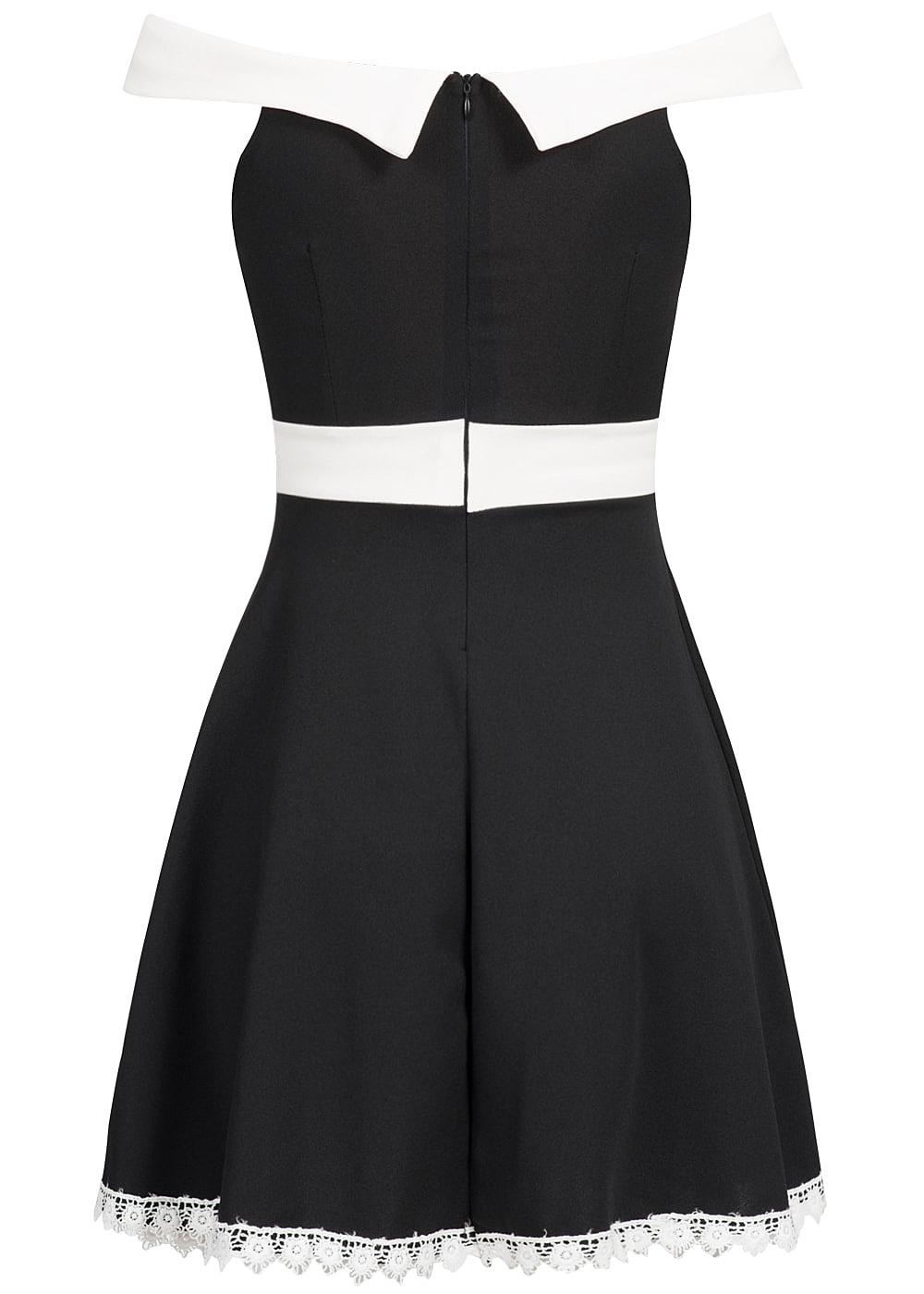 styleboom fashion damen mini kleid off shoulder zipper deko schleife brustpads schwarz. Black Bedroom Furniture Sets. Home Design Ideas