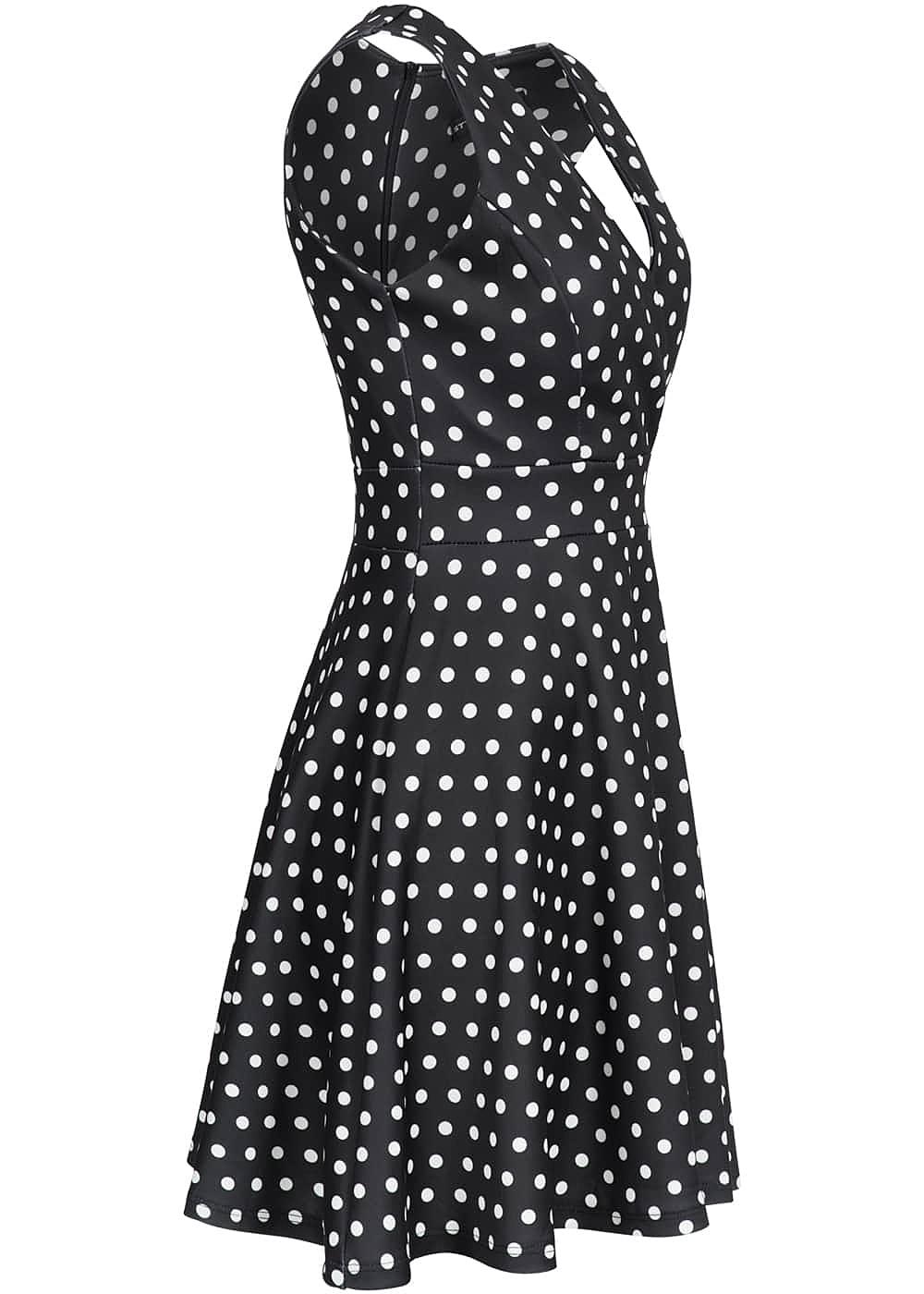 styleboom fashion damen mini kleid punkte muster zipper hinten brustpads schwarz weiss. Black Bedroom Furniture Sets. Home Design Ideas