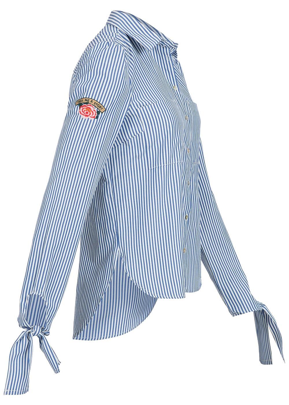 hailys damen bluse 3 4 rmel zum binden 2 brusttaschen stickerei gestreift blau weiss 77onlineshop. Black Bedroom Furniture Sets. Home Design Ideas