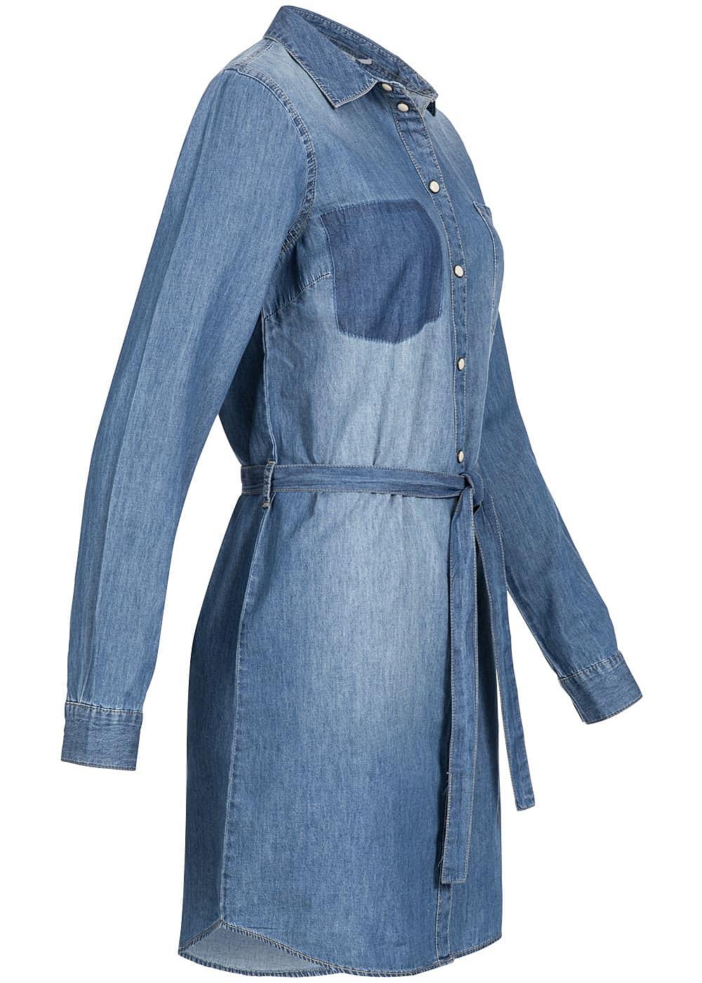jdy by only damen jeans kleid brusttasche knopfleiste bindeband medium blau denim 77onlineshop. Black Bedroom Furniture Sets. Home Design Ideas