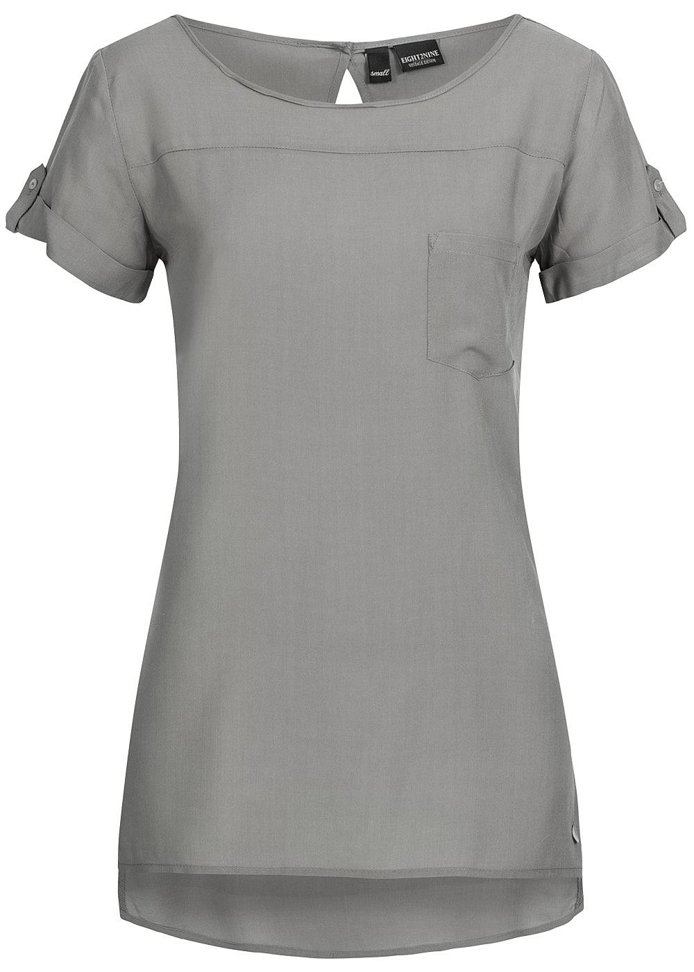 eight2nine damen t shirt brusttasche hinten l nger mocha. Black Bedroom Furniture Sets. Home Design Ideas