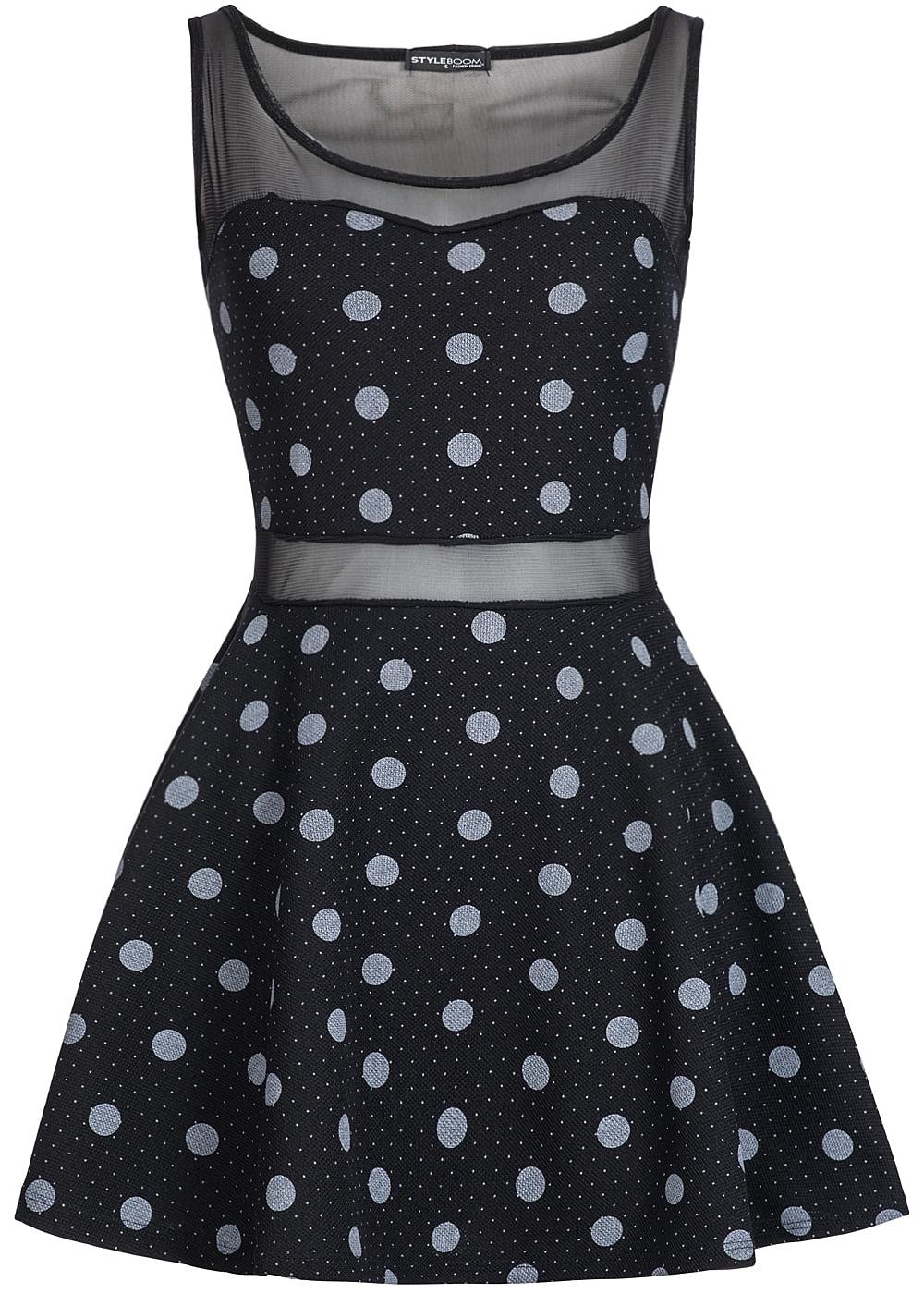 styleboom fashion damen mini kleid netz optik punkte. Black Bedroom Furniture Sets. Home Design Ideas