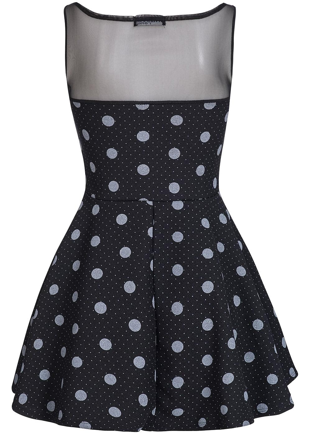 styleboom fashion damen mini kleid netz optik punkte muster schwarz weiss 77onlineshop. Black Bedroom Furniture Sets. Home Design Ideas
