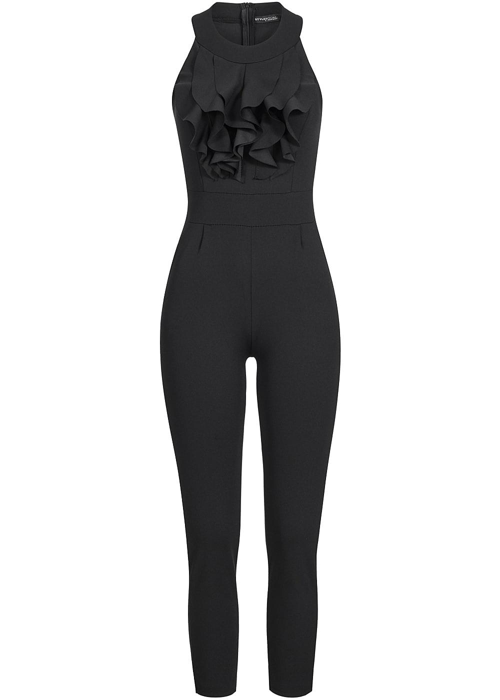 styleboom fashion damen jumpsuit vorne t ll 2 taschen zipper hinten schwarz 77onlineshop. Black Bedroom Furniture Sets. Home Design Ideas