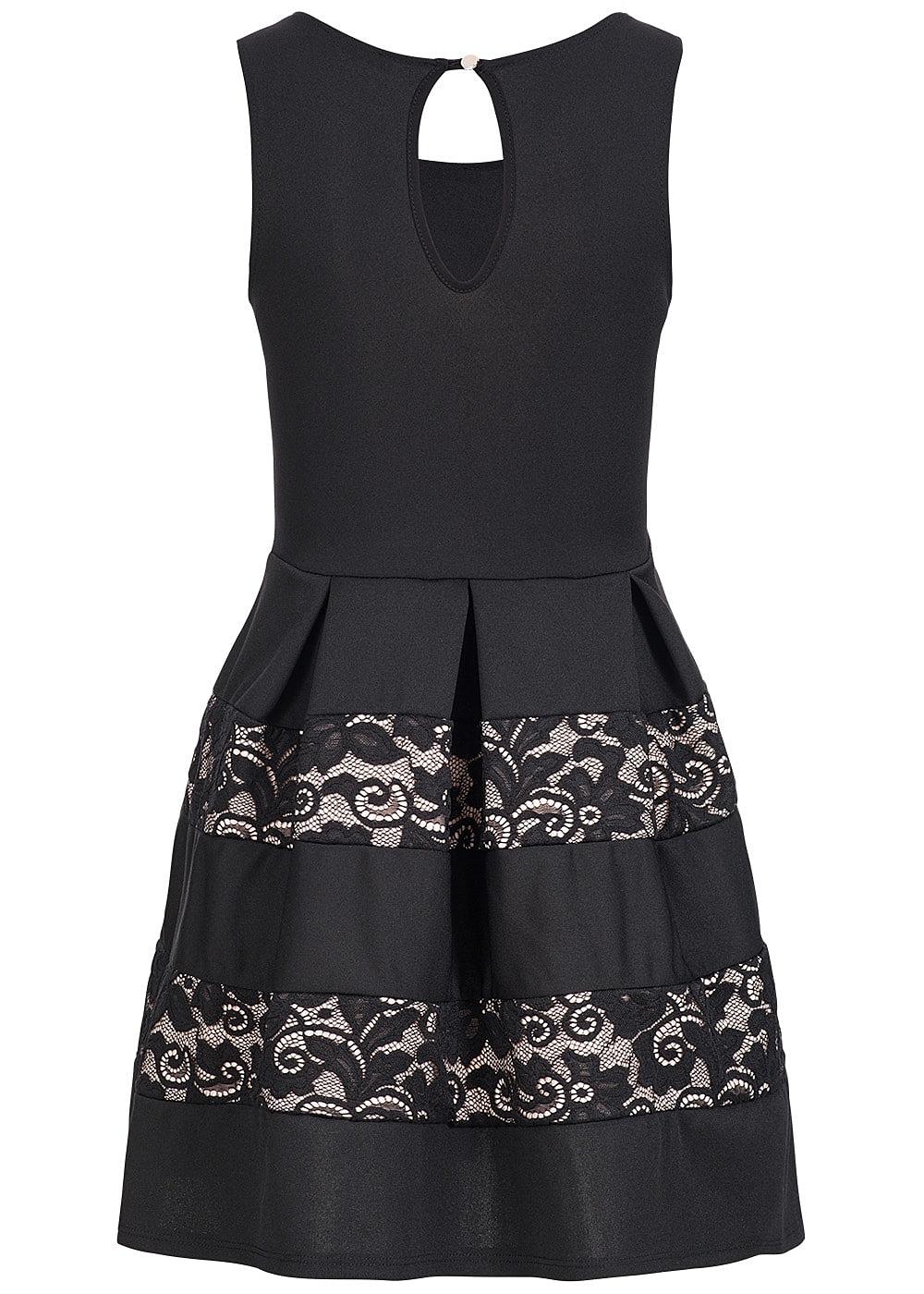 styleboom fashion damen mini kleid weit ausgestellt unten spitze schwarz rosa 77onlineshop. Black Bedroom Furniture Sets. Home Design Ideas