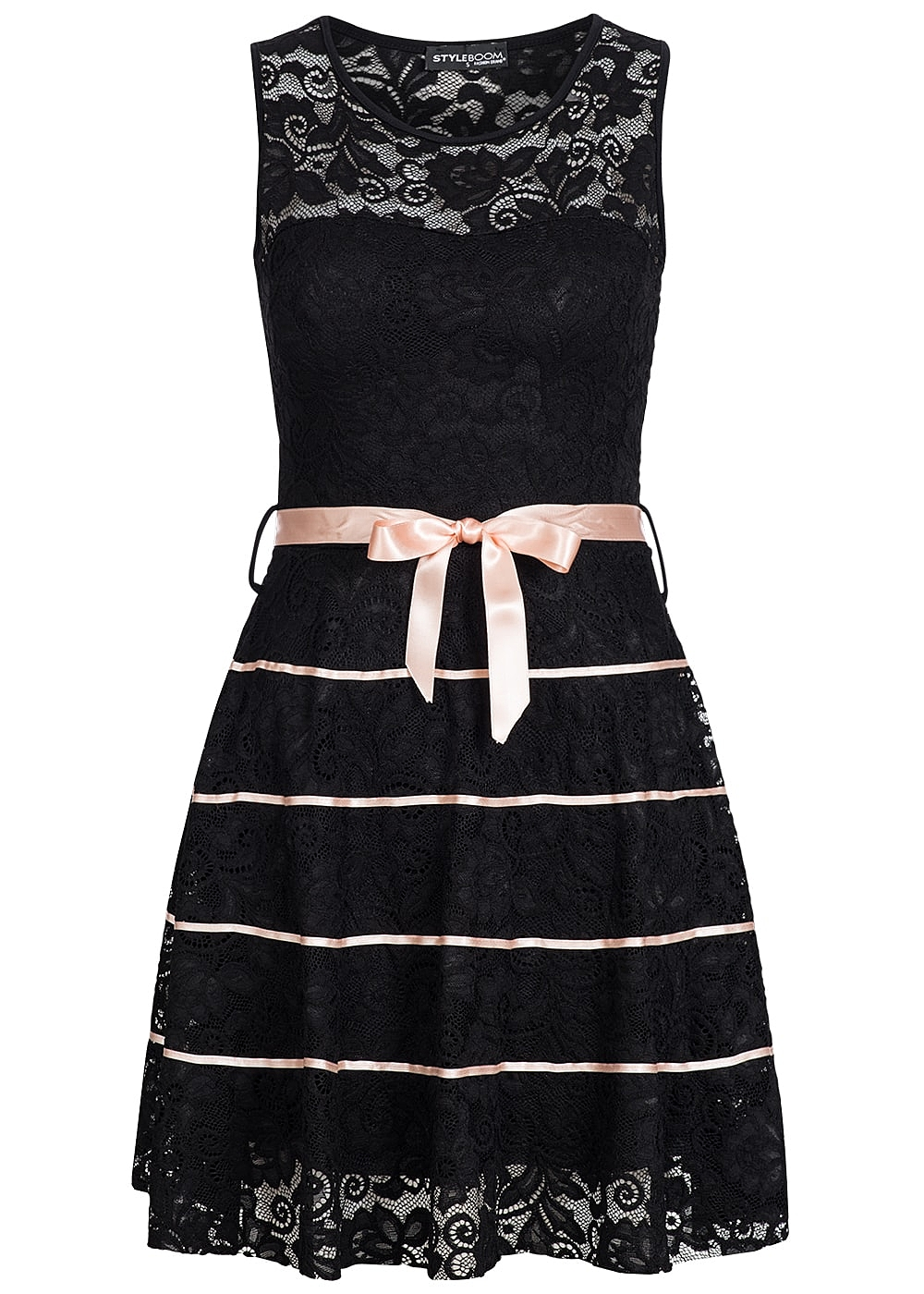 styleboom fashion damen mini kleid brustpads spitze all over schleife schwarz rosa 77onlineshop. Black Bedroom Furniture Sets. Home Design Ideas