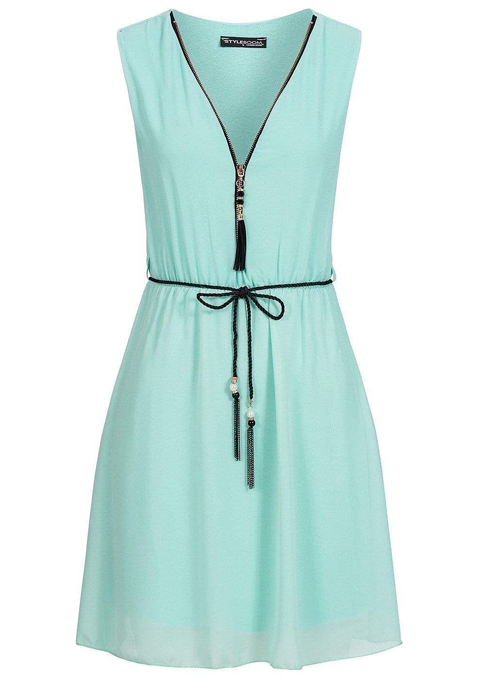 Hell Grün V Ausschnitt Kleid