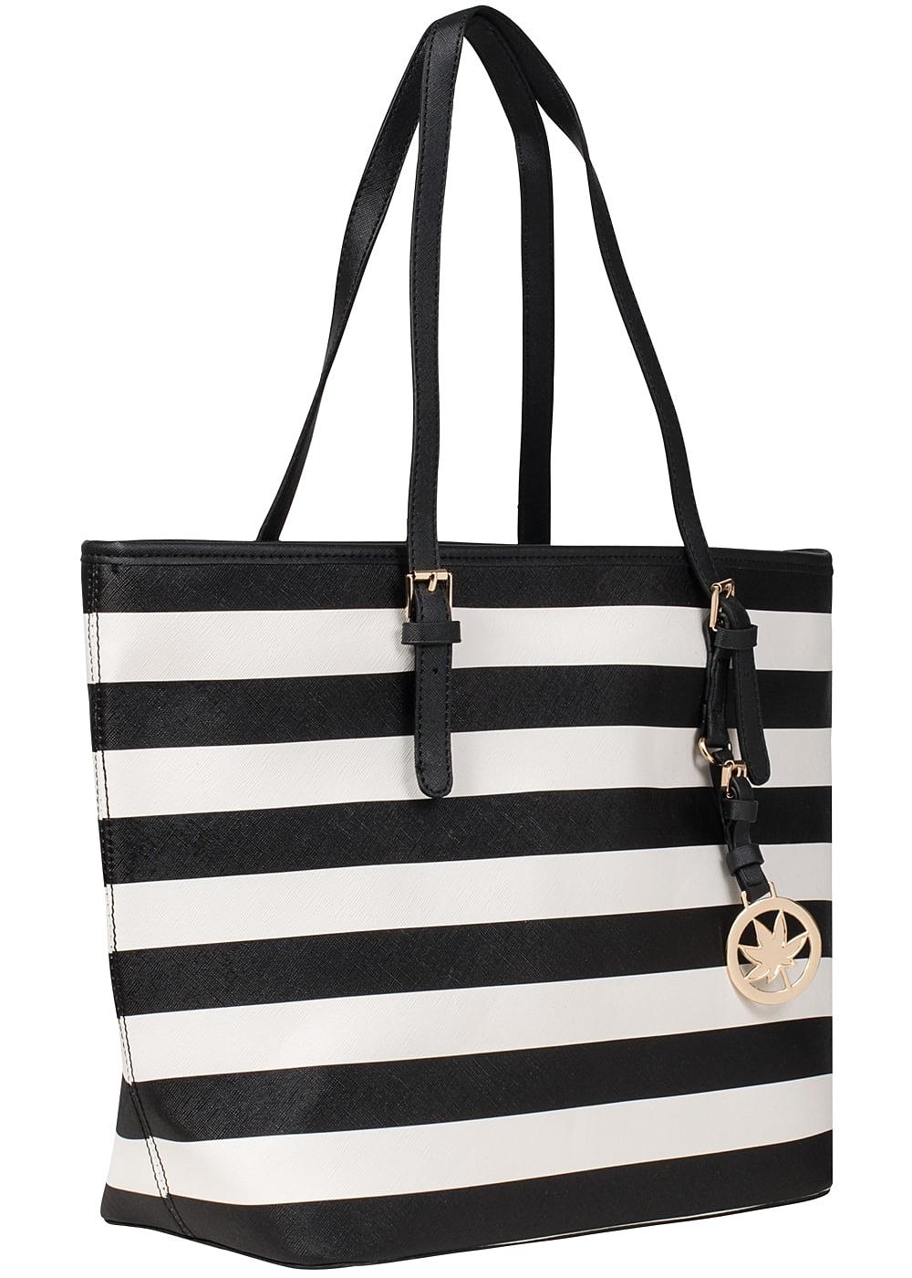 Styleboom Fashion Damen Handtasche schwarz weiss 77onlineshop