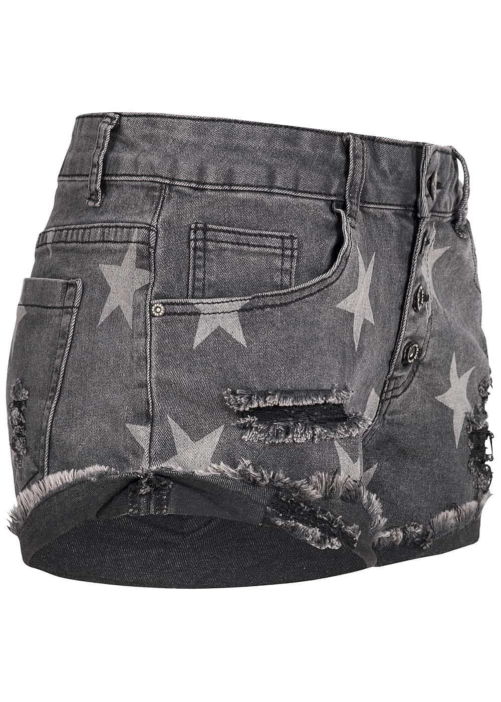 hailys damen jeans short sternen muster destroy look dunkel grau - Jeans Mit Muster